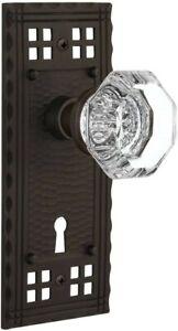 "Nostalgic Warehouse Craftsman Plate Keyhole & Waldorf Crystal Knob Passage 2.75"""