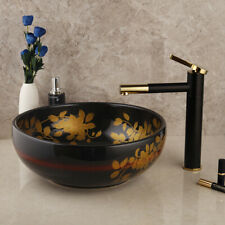 Ceramics Bathroom Sink Basin Bowl Vessel Vanity Counter Top Faucet Drain Set