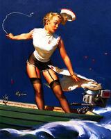 Sailor Pinup Girl Boat VINTAGE ADVERTISING ENAMEL METAL TIN SIGN WALL PLAQUE