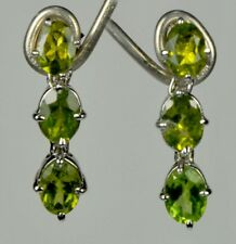 SENSATIONAL VINTAGE 925 Sterling Silver Natural Green Peridot Dangle Earrings