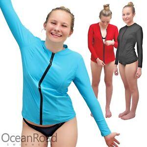 Ladies Rash Guard Zip Up size 8-26 Rashie Swim Shirt Long Sleeve Black Blue plus