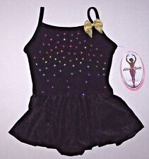 Nwt New Moret Leotard Leo Dress Skirt Skirtall Camisole Black Rainbow Studs Girl