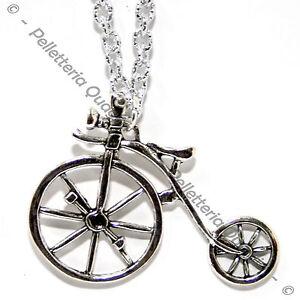 Collana Catena Lunga Regolabil Ciondolo Argento Tibetano Bici Bicicletta Biciclo