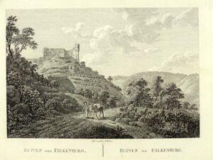 1 Orig. Kupferstich von  Roux 1826 TRECHTINGSHAUSEN/   FALKENBURG