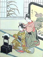 HARUNOBU - Bijin ukiyo-e ESTAMPE JAPONAISE AUTHENTIQUE original japan woodblock