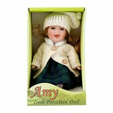 """Amy""  Sitting Irish Porcelain Doll With Matching Aran Cardigan and Hat"