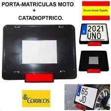 PORTA MATRICULAS/ PORTA PLACAS MOTO POLIPROPILENO EN COLOR NEGRO+CATADIOPTRICO