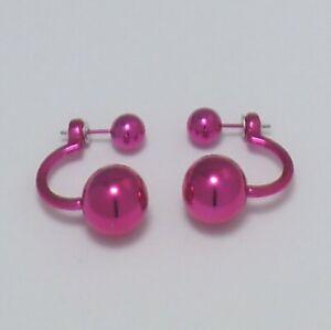 Pretty Bright Pink Double Ball Beads High Gloss 'C'-shaped Stud Earrings: UK