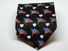 "American Traditions Men's Neck Tie American Flag Pattern 100% Silk 58"" x 4"""