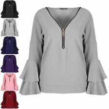 V Neck Tops & Shirts for Women with Ruffle