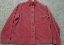 LL Bean Women Solid Rose Pink Red Long Sleeve Chenille Fleece Bed Jacket Size S