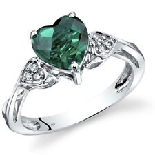 14K White Gold Created Emerald Heart Shape Diamond Ring 1.5 Carats Size 7