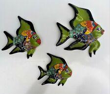 THREE (3) PIECE SET MEXICAN TALAVERA POTTERY WALL DECOR ANGEL FISH SCULPTURES