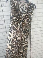 Animal Print Long Sleeveless Dress Stretchy Material Size  12-14