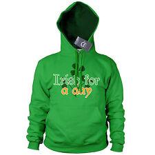 Irish for a Day St Patricks Day Irish Hoodie Ireland Rugby Hoody Gift Drunk P16