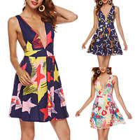 Women Sleeveless Deep V-Neck Mini Swing Dress Print Summer Beach Party Sundress
