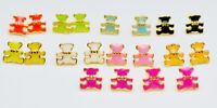 18K/ct Gold Plated Color Enamel Cute Small Teddy Bear Stud Earrings Gift 9x9mm