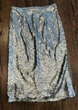 Press Midi Silver Sequin Skirt Size XS (0-2) New with Tag