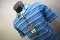 39932 New Bobby Jones Rule 18 Performance Indigo Striped Golf Polo Shirt Large