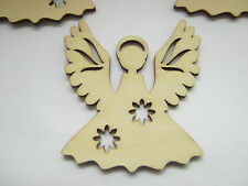 3 Christmas Angels Tree Decorations 65mm Wood Angel Hangers Xmas Craft Supplies