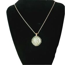 "Collector 1935 Buffalo Nickel Silver Tone Necklace Blossom Pendant 24"" Chain COA"