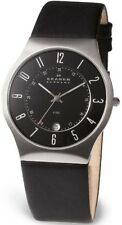 SKAGEN Mens/Gents BLACK LEATHER Watch w/DATE 233XXLSLB  *NEW*