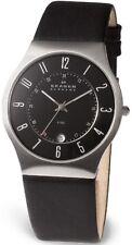 Skagen mens/gents Reloj De Cuero Negro w/date 233xxlslb * Nuevo *