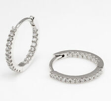 .24 TCW Womens Diamond Micro Pave Mini Huggie Hoop Earrings 18k White Gold 1.2g