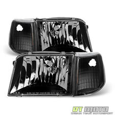 [4PC] Black 1993-1997 Ford Ranger Headlights Corner Turn Signal Lamps Left+Right