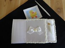 WEDDING GUEST BOOK and Pen White Satin Bow Lace Crinoline 25 Pages