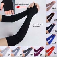 1Pair Soft Stretchy Long Sleeve Fingerless Gloves Cashmere Arm Warmer Sleeves Du