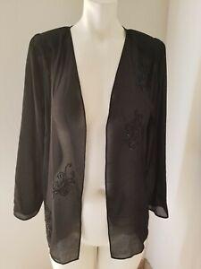DELA-JO vintage stunning Blouse sheer Black with floral design long sleeve