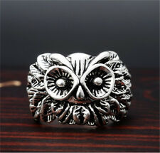 Men's Exaggerated owl Retro Punk Stainless Steel Silver Ring Personality Size-10