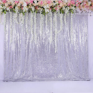 60''x84'' Sequin Backdrop Silver Background Curtain Wedding Party Birthday Event