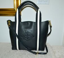 NWT $198 Lauren Ralph Lauren Huntley Tote Bag Black Leather