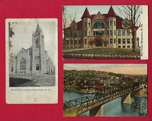 7 Morgantown, WV postcard views, one used in 1905, High School, Country Club