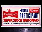 NHRA Budweiser Winston - Super Stock Nationals 1989 Vintage Racing Decal/Sticker