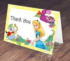 10 - PRINTED Alice in Wonderland Thank You Notes Cards