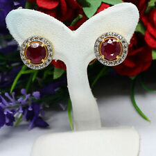 NATURAL 7 mm. ROUND RED RUBY & WHITE TOPAZ EARRIGNS 925 STERLING SILVER