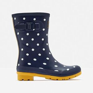 Joules MOLLY WELLY Ladies Rubber Mid Height Wellington Boots French Navy Spot