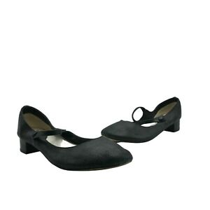 Repetto Womens Mary Jane Shoes Leather Block Heels Round Toe Black EU 42 US 9.5
