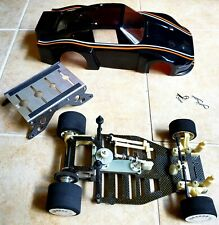 Vintage Team Associated 1/12 Graphite RC10 RC12 Pan Car Porshe body and stand...