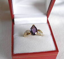 1.90 Ct. Amethyst Solitaire & Diamond 10K Gold Ring