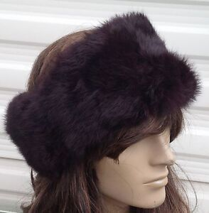 dark brown real genuine Chinese rabbit fur pelt ear warmer headband unisex hat