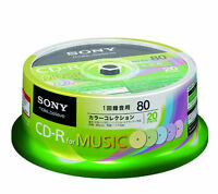 X20 SONY JAPAN Blank Music CDR CD-R Discs 80min 24x Clear sound quality 5 Colors