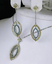 2.32 CARAT YELLOW & BLUE DIAMOND EARRINGS AND PENDANT