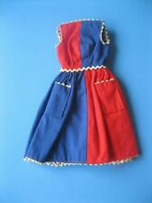 Vintage Barbie Doll BLUE & RED DRESS Fancy Free Outfit #943 Clothes Tagged 60's