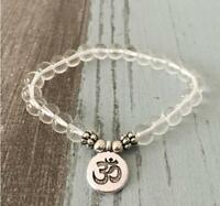 8mm White Crystal Bracelet cuff Healing energy Handmade Spirituality Stretchy