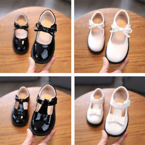 KIDS LEATHER SHOES BABY INFANTS GIRLS SHINY T-BAR SPANISH BOW WEDDING PARTY
