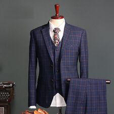 Men's 3 Pieces Check Navy Blue Slim Fit Tuxedo Dinner Suit Groom Business Suits